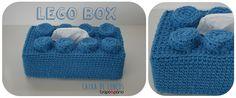 LEGO Box Blue Capa para caixa de lenços. Decoração infantil. Crochet