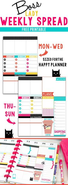 Boss Lady Weekly Spread Thi is a FREE Printable for the Happy Planner Weekly Boxes.