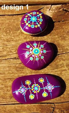 Lot Set of 3 Colorfull Painted Pebbles Dot Mandala by yuliart2000