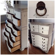 Double bow front highboy in antique white and grey Lee.Marie Antiqued Furniture on Facebook