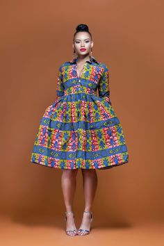 African Print Namibia Midi Dress| Grass-Fields| Perfect for any occasion
