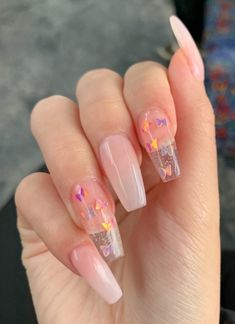 Clear Glitter Nails, Purple Acrylic Nails, Clear Acrylic Nails, Acrylic Nails Coffin Short, Summer Acrylic Nails, Coffin Nails, Summer Nails, Pastel Nails, Winter Nails