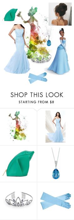 """""""Tiana prom"""" by disney-daydream ❤ liked on Polyvore featuring Disney, Mon Cheri, Loewe, EWA and Crystal Allure"""