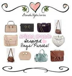 Requested: Ariana Grande Inspired Bags & Purses  Find them all here, on polyvore! :)    -Katelyn xo    Hope this helps! <3