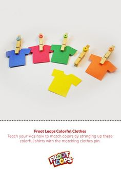 Froot Loops Colorful Clothes Busy Bag helps your child practice color matching Colourful Outfits, Colorful Clothes, Colorful Shirts, Toddler Learning Activities, Teaching Kids, Toddler Bag, Class Decoration, Color Crafts, Busy Bags