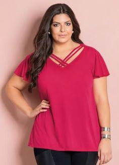 Blusa Decote V com Tiras (Pink) Plus Size