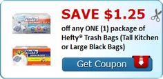 NEW $1.25/1 Hefty Trash Bags printable coupon available! - http://www.couponaholic.net/2015/10/new-1-251-hefty-trash-bags-printable-coupon-available/
