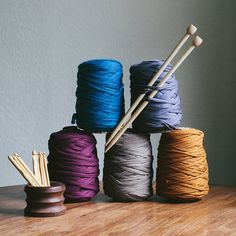 recycled t shirt yarn for knitting crochet by kat goldin designs | notonthehighstreet.com