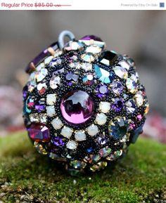 SALE Vintage Rhinestones Ball Orb Sphere by ASoulfulJourney, $72.25
