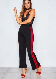 Trishna Black Red Stripe Jogging Trousers Missy Empire