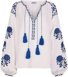Shop for Fanm Mon White Linen Floral Embroidered Blouse at ShopStyle. Bohemian Blouses, Boho Tops, Embroidered Clothes, Embroidered Blouse, Pakistani Formal Dresses, Hippy Chic, Linen Blouse, Peasant Blouse, Blouse Designs