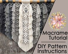 Angel Wings Pattern/Tutorial   Etsy Macrame Wall Hanging Patterns, Macrame Patterns, Pdf Patterns, Flower Patterns, Hanging Tapestry, Macrame Owl, Macrame Knots, Tips And Tricks, Knots Guide