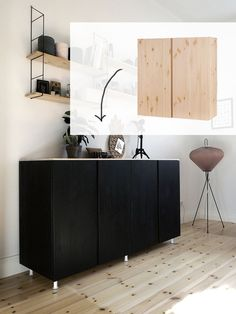 love these stained pine ikea ivar cabinets very classy and easy ikea hack inside spaces. Black Bedroom Furniture Sets. Home Design Ideas