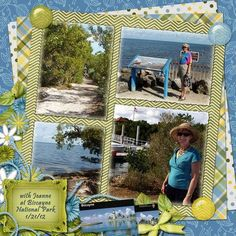 .travel scrapbooking | love the use of different patterned paper.