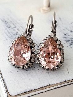 Blush crystal earrings | blush bridal earrings | Blush Bridesmaids earrings | blush wedding| oxidized silver blush earrings by EldorTinaJewelry | http://etsy.me/1heisSP