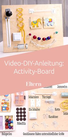 Für Babys und Kleinkinder: Activity-Board selber machen Your little one is busy with an activity board. With so many game options, it's definitely not going to be boring. Build the board yourself? Sure, of course! We'll show you how to do it. Baby Toys, Toddler Toys, Infant Activities, Activities For Kids, Diy Montessori, Diy Sensory Board, Diy Bebe, Baby Blog, Educational Toys