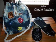 Bolsa em jeans com aplicação de patches!!! Bjos coloridos e brilhantes