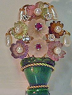 Ruby, Diamond, Pearl and carved crystal 14K Basket Brooch c1960s $1450 on GoAntiques
