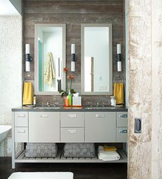 Double Bathroom Vanities  If space permits, two sink areas provide great convenience in shared bathrooms. Find ideas for bathroom vanities with double the space, double the storage, and double the style.