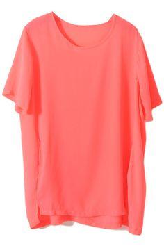 Loose Chiffon Watermelon-Red T-shirt #ROMWE