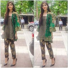 Beautiful designer inspired short coat style with cigarette pants. This dress can be customized per customers measurements. Inner shirt is jaamawar fabric, Coat has embroidery on chiffon and velvet, Pants are block printed. Please inbox for customization, embroidery will take up to 3 weeks. All custom-made orders are delivered via DHL from Pakistan in 2-3 days. 617-513-7035