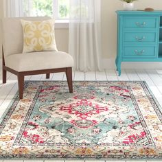 Mistana Indira Oriental Gray/Light Blue Area Rug  Reviews | Wayfair