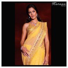 #Katrina Kaif in a vibrant YELLOW saree