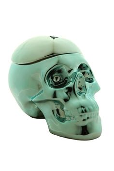 skull storage jar METALLIC FRANKIE BLUE