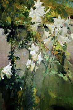 Joaquin Sorolla i Bastida - White Lilies Lily Painting, Plant Painting, Garden Painting, Garden Art, Art Floral, Abstract Landscape, Landscape Paintings, Spanish Artists, Art Plastique