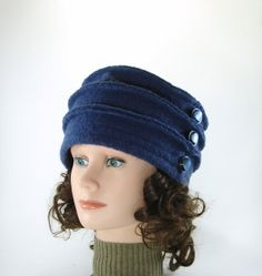 Blue Boiled wool hat 100% recycled boiled wool with a beautiful decorative buttons. Toque, beanie, up cycled, recycled.