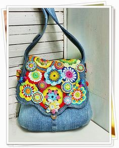 """Colorful rainbow"" Blue Jean bag with crochet motifs...so pretty!"