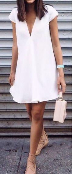 #summer #outfits white v neck dress