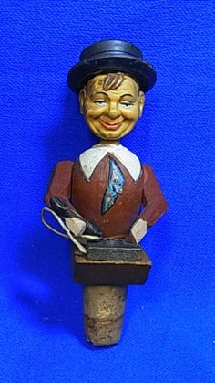 Vintage Italy Wood Carved Mechanical Bottle Stopper Man with Phone #C
