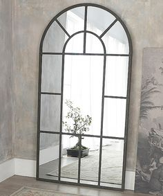 Our metal framed window mirror is a real statement piece - it stands nearly 7 feet tall - use it to add an extra dimension to a dull corner and to Tall Mirror, Window Mirror, Hallway Mirror, Upstairs Hallway, Brande, Stair Landing, Tall Windows, Living Room Mirrors, Mirrors