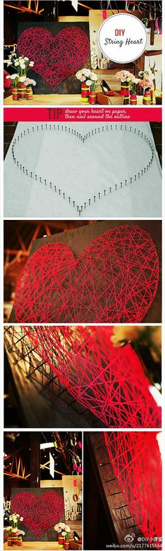 diy: Valentines Day String heart