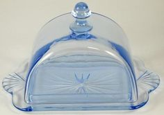 Blue Glass Cheese Butter Dome Lidded Dish Vintage Old Glass Moonlight Madonna