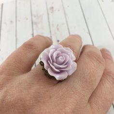 Vintage Inspired Pale Lilac Purple Flower Statement Ring // Adjustable Rose Ring // Romantic Gifts for Her by MonicaRudyJewelry