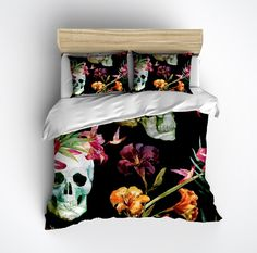 Watercolor Skull Bedding, Tropical Lilly with Hummingbirds