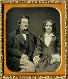 Antique 1 6 Plate Daguerreotype of Gorgeous Couple in Full Leatherette Case | eBay