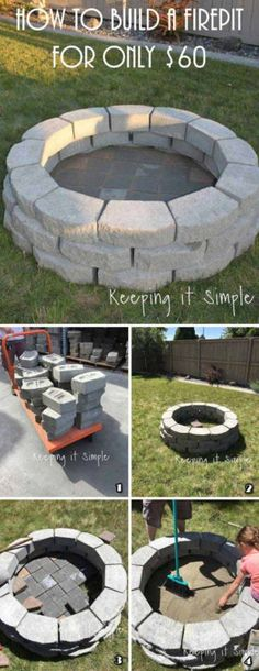 Attractive DIY Firepit Ideas DIY Fireplace Ideas - Outdoor Firepit On A Budget - Do It Yourself Firepit Projects and Fireplaces for Your Yard, Patio, Porch and Home. Outdoor Fire Pit Tutorials for Backyard with Easy Step by Step Tutorials - Cool DIY Pr Diy Fire Pit, Fire Pit Backyard, Backyard Patio, Backyard Landscaping, Landscaping Ideas, Backyard Seating, Porch Garden, Wedding Backyard, Garden Seating