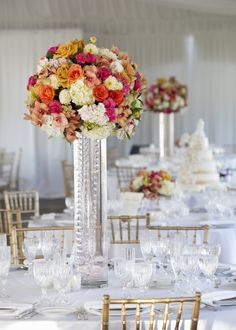 Large Formal Wedding Centerpiece on SMP: http://www.stylemepretty.com/little-black-book-blog/2013/11/07/sonoma-wedding-from-catherine-hall-studios | Photography: Catherine Hall Studios