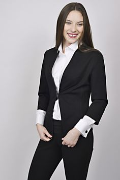business look, black and white outfit, black jacket, white shirt, management, receptions, uniforms, uniform Business Look, White Outfits, Receptions, Management, Black And White, Jackets, Shirts, Design, Women