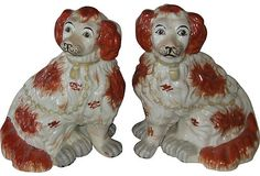 Staffordshire-Style Dogs: a wonderful pair of porcelain King Charles Spaniels; 6.5″L × 5.5″W × 8″H.