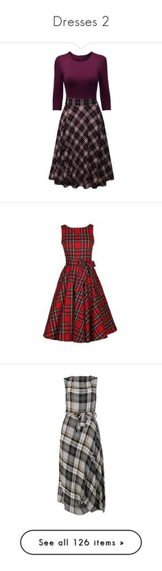 """Dresses 2"" by frankie-and-gee ❤ liked on Polyvore featuring dresses, mid calf dresses, 3/4 sleeve dress, midi skater dresses, purple skater dress, plaid midi dress, red, print dress, round neck sleeveless dress and red plaid dress"