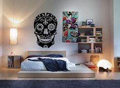Day of the Dead Sugar Skull Sticker Vinyl Decal Wall Art Mural Dia De Los Muertos Azucar Halloween Scary Spooky Mexico Latin Choose A Size