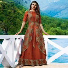 Shop now all the latest Kurti designs for women. Explore Cbazaar's huge collection of party wear and casual wear Indian Kurtis featuring a huge variety. Kurti Designs Party Wear, Kurta Designs, Blouse Designs, Jacket Style Kurti, Silk Jacket, Fancy Kurti, Kurti Sleeves Design, Printed Gowns, Printed Silk