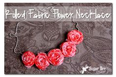 Holiday Rolled Fabric Flower Necklace