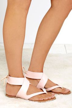 Totally cool!  Bring It Around Nude Ankle Wrap Thong Sandals at Lulus.com! affiliate