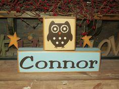 Primitive Owl Themed Two Piece Personalized Name Blocks Wood Sign Nursery Decor Boys Girls Baby Kids Room. $16.99, via Etsy.