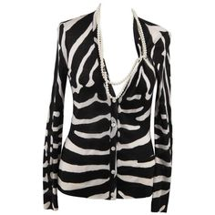 Preowned Christian Dior Wool & Silk Zebra Cardigan W/ Faux Pearl... ($337) ❤ liked on Polyvore featuring tops, cardigans, black, wool tops, zebra print top, zebra top, cardigan top and wool cardigan